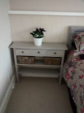 H80 W80 D30cm BESPOKE LA FRENCH GREY CONSOLE TABLE 3 DRAWER 2 SHELVES