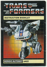 JAZZ INSTRUCTION BOOKLET, 1984 G1 Transformers, Instructions Manual
