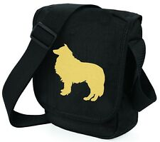 More details for rough collie bag metallic gold silver on black shoulder bags collie mothers day