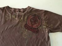 MONARCHY Los Angeles Men's BROWN Distressed Graphic T-Shirt SMALL
