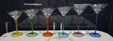 6 Harlequin Cocktail Martini Gin Glasses Multi Coloured Graduated Angled