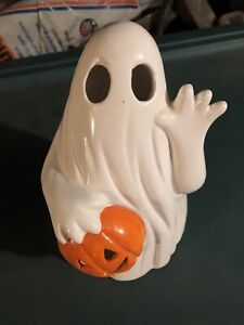 Small Halloween Ceramic Waving Ghost With Jack O Lantern Candle Tealight Holder
