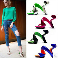 Elegent Women's Peep Toe Leather High Heel Block Mixed Color Party Pumps Shoes