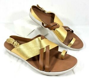 GUC Women's FitFlop Slingback toeloop Loopy Sandals Gold Brown Sz 8