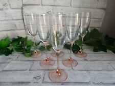 More details for vintage luminarc pink stemmed champagne flutes glasses x6