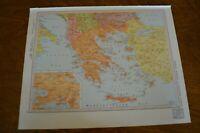 1960 Map of Greece Albania & Western Turkey - Map of Poland & Czechoslovakia