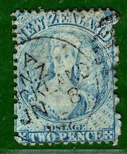 New Zealand 1864 2d CHALON *Worn Plate* VFU CDS Cancel SG.113 Cat £30++ GBLUE118
