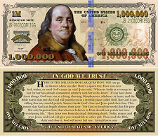 Colorful Benjamin Franklin Million Dollar Bill Tract Novelty Note +FREE SLEEVE