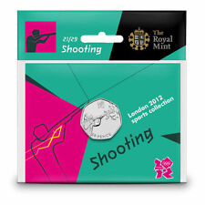 2012 50p OLYMPIC 21/29 SHOOTING COIN HANGING BAG BRILLIANTLY UNCIRCULATED @