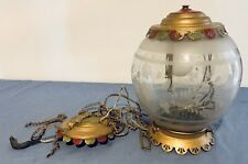 VICTORIAN HANGING BRASS LAMP ETCHED GLASS GLOBE ANTIQUE
