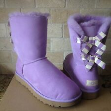 UGG SHORT BAILEY BOW STRIPE PURPLE LAVENDER SUEDE SHEEPSKIN BOOTS US 10 WOMENS
