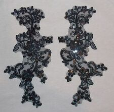 black sequin flower bridal wedding embroidery patch lace applique motif costume