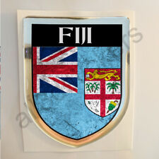 Fiji Sticker Resin Domed Stickers Flag Grunge 3D Adhesive Gel Decal Car Moto