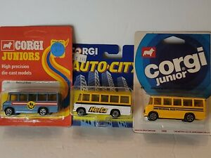 Vintage 1973 Corgi Juniors/Auto City Hertz School Bus Die cast 1:43 Pack 3
