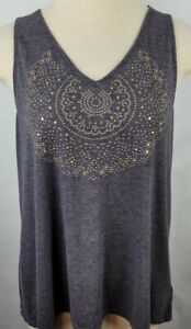 Knox Rose Womens Size Large Grey Gold Accents Embellished V Neck Tank Top