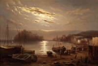 Huge Oil painting beautiful moon night landscape & boats canoes in harbor canvas