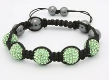 Macrame Beaded Bracelet with Lime Green Disco Balls with Gift Box NEW