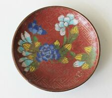 Vintage Chinese Cloisonne Red Small Dish Blue Floral Plate