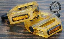 "Yellow Clear Iped Platform Bike Pedals 9/16"" BMX MTB Cruiser Fixie Track Bicycle"