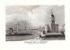 1840 VICTORIAN PRINT ~ MARGATE PIER & HARBOUR STEAM PADDLE BOAT