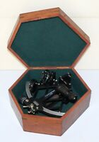 """Nautical brass sextant 8"""" marine ship working instruments with wooden box gift"""