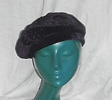 60S style chic béret chapeau betmar new york violet en velours avec perles applique