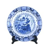 """Beautiful Blue and White Porcelain Chinese Blue Willow Plate 16"""" Diameter"""