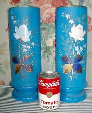 Set LARGE 1880 Cerulean Blue Bristol Frosted Glass Vases, Roses & Forget-Me-Nots
