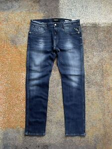 REPLAY Anbass Stretch Men's Blue Jeans Size W34 L32 Sim Fit