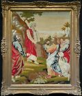 Large Elegant 20th Century Vintage Antique Embroidery Wall hanging In Gilt Frame