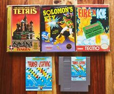 Fire N Ice Solomon's Key TETRIS Complete CIB box manual + Thunder & Lighting NES