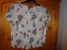 Beige waist length boxy feather print top, scalloped edges, ATMOSPHERE, size 10