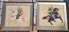 Pair Japanese Vintage Hand Painted Paintings Samurai Warrior Riding a Horse