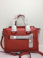 NWT COACH Swagger 27 Satchel Carryall Leather 34816 Deep Coral $450