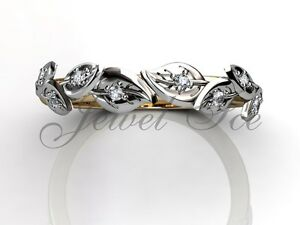 14k Yellow and White Gold Diamond Leaf and Vine Floral Wedding Band LB-2027-7