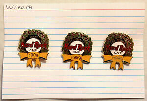 Hard Rock Cafe Christmas Wreath Lapel Pins 1999  LOT of 3 Miami Ft. Lauderdale