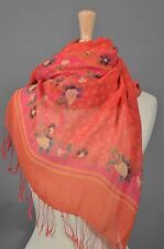 Silk Crepe Scarf Sarong Resort Wear Dress Peony pink, rose floral  $42.00