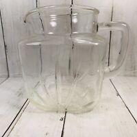 Vintage Federal Glass Clear Star Bottom Star Burst Juice or Milk Pitcher