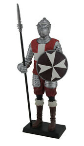 Knight of Malta Guard Holding Pike and Maltese Cross Shield Statue