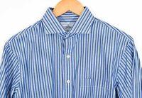 EPAULET New York Multi Stripe Button Shirt Blue White Cotton Cutaway Collar US L
