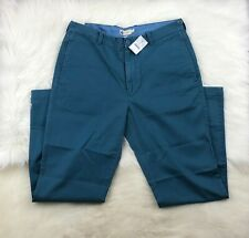J Crew Men's Relaxed Fit Flat Front Cotton Chino Pants, Blue 33x32 NWT