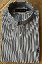 Polo Ralph Lauren Dress Shirt 17.5 36/37 Black/Wht Striped wPurple Pony $98 NWT