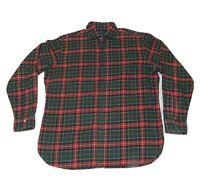 Polo Ralph Lauren Flannel Red Green Plaid Shirt Regent Mens Large MADE IN ITALY