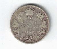 CANADA 1909 10 CENT BROAD LEAVES DIME EDWARD VII STERLING SILVER COIN