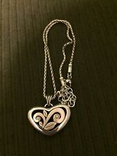 BRIGHTON FLORAL 2 STUDS HEART NECKLACE SILVER TONE PENDANT CHARM HEAVY NEW!!!