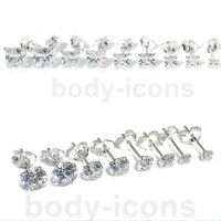 925 Sterling Silver Cubic Zirconia Clear CZ Round or Square Earrings Studs 3-7mm