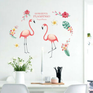 Removable Wall Stickers Girls Flamingo Frangipani Flowers Tropical Leaves DIY AU