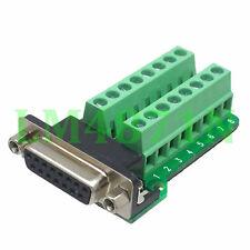 DB15 D-SUB female jack 15pin port Terminal Breakout PCB RS232/485 2 row screw