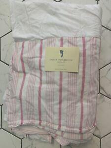 Pottery Barn Kids Pink White Striped Stripe Queen Bed Skirt Bedskirt Isabelle