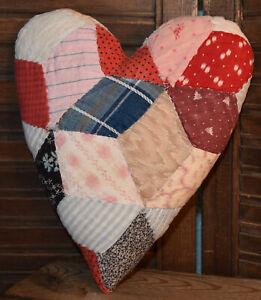 "Primitive Quilt Heart Valentine Bowl Filler Cupboard Tuck Red Multi Color 9"" x7"""
